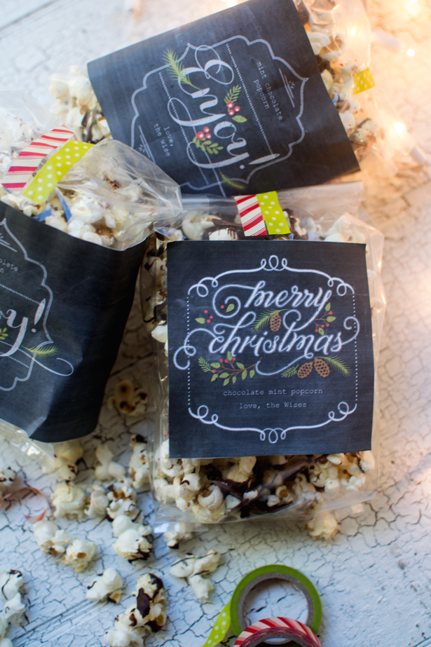 chocolate mint drizzled popcorn