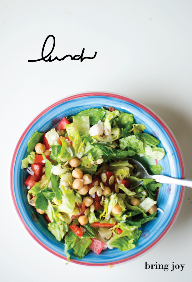 quick & easy chickpea + pumpkin seed romaine salad | vegan + gluten-free // bring joy
