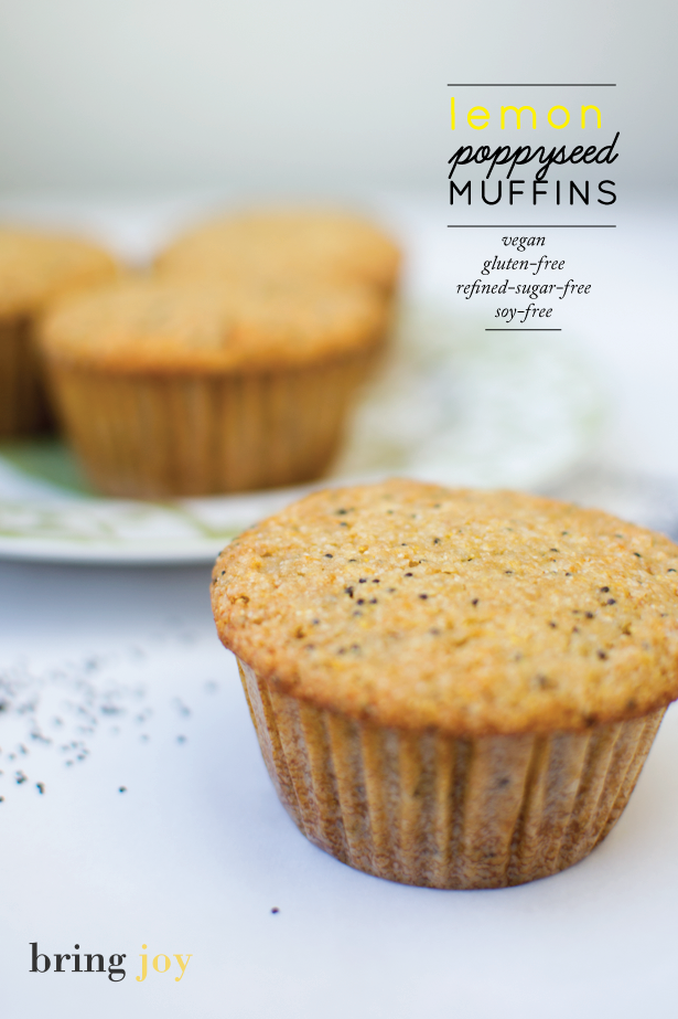 lemon poppy seed muffins -- vegan, gluten-free, agave sweetened, whole grain // bring joy