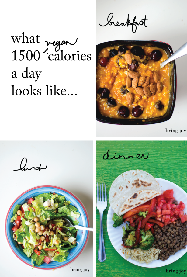what does 1500 calories look like? // bring-joy.com #vegan #diet