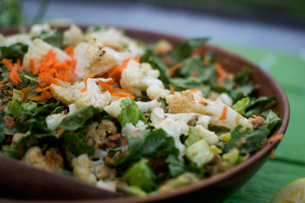 roasted cauliflower & lentil salad with lemon dill dressing