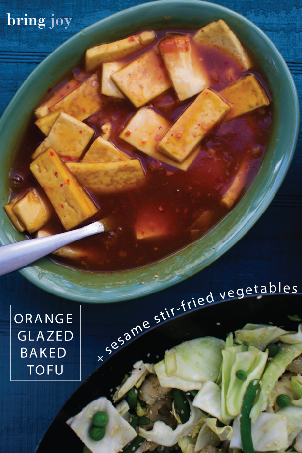 baked tofu in a sweet orange sauce + sesame stir-fried vegetables {RECIPE} // #vegan #glutenfree  bring-joy.com