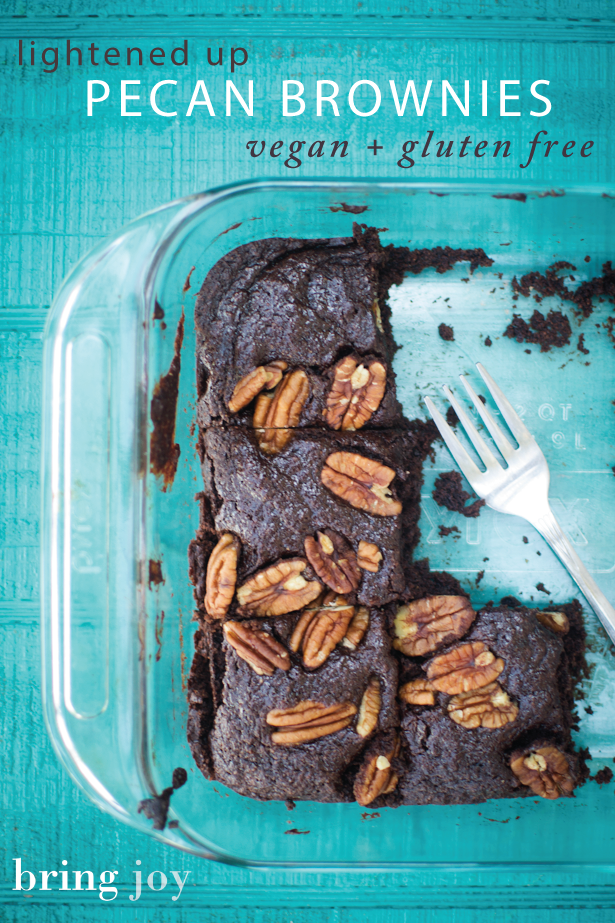these moist & dense lightened up, cake-like pecan vegan gluten free brownies use only one flour & are only 4 WWP points per serving #vegan #glutenfree #brownies // bring-joy.com